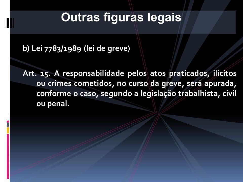 b) Lei 7783/1989 (lei de greve) Art. 14. Constitui abuso do direito de greve a inobservância das normas contidas na presente Lei, bem como a manutençã