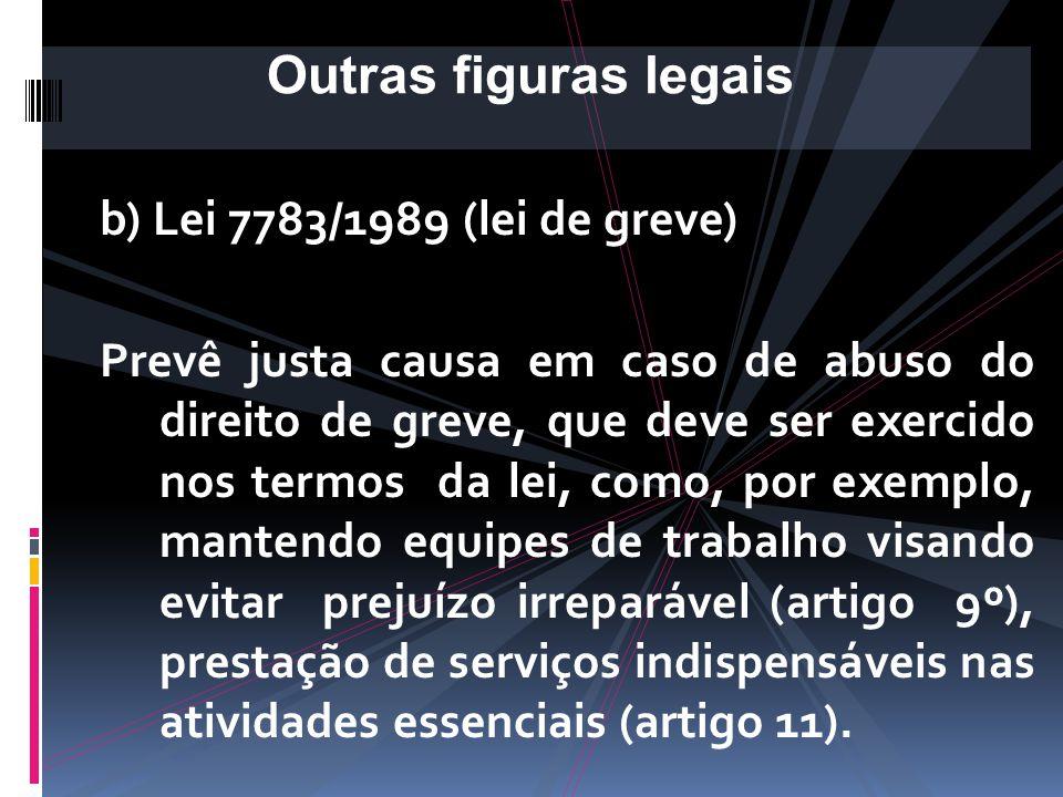 b) Lei 7783/1989 (lei de greve) Art. 15. A responsabilidade pelos atos praticados, ilícitos ou crimes cometidos, no curso da greve, será apurada, conf