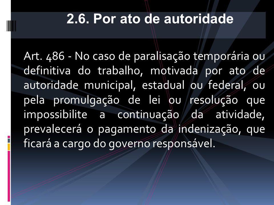 2.5.1. Contratos com prazo indeterminado: como se fosse demissão sem justa causa, com pagamento de 50% da multa (20%); 2.5.2. Contratos com prazo dete