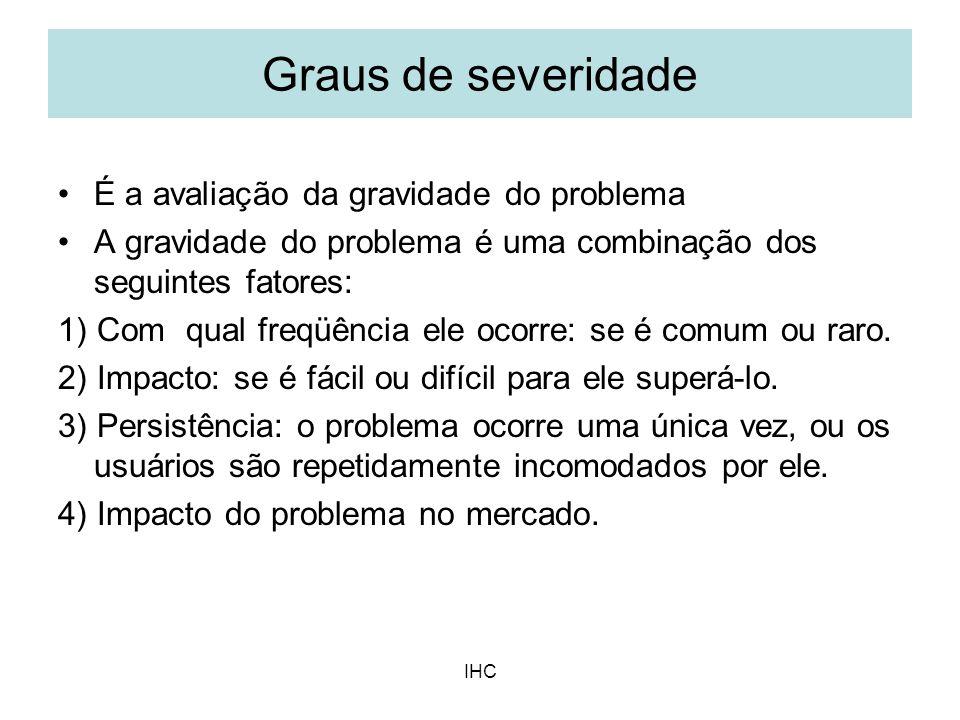 IHC É a avaliação da gravidade do problema A gravidade do problema é uma combinação dos seguintes fatores: 1) Com qual freqüência ele ocorre: se é com