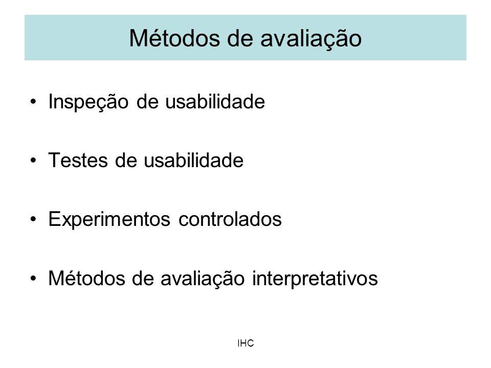 IHC Inspeção de usabilidade Testes de usabilidade Experimentos controlados Métodos de avaliação interpretativos Métodos de avaliação
