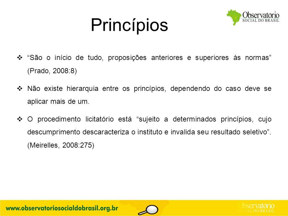 """Princípios  """"São o início de tudo, proposições anteriores e superiores às normas"""" (Prado, 2008:8)  Não existe hierarquia entre os princípios, depend"""