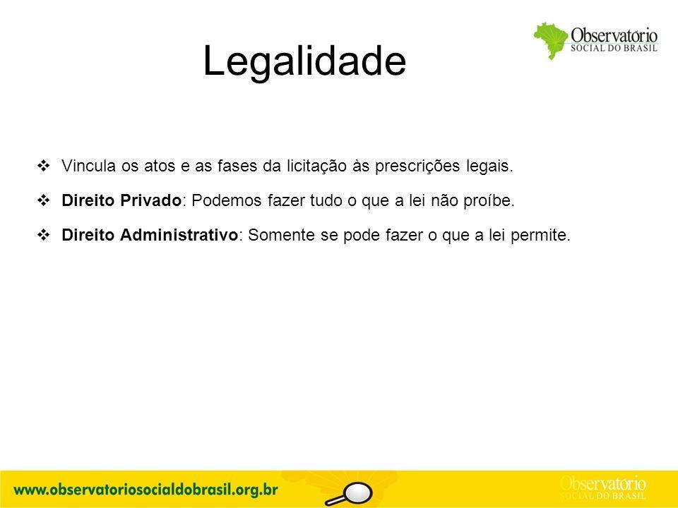 Legalidade  Vincula os atos e as fases da licitação às prescrições legais.  Direito Privado: Podemos fazer tudo o que a lei não proíbe.  Direito Ad