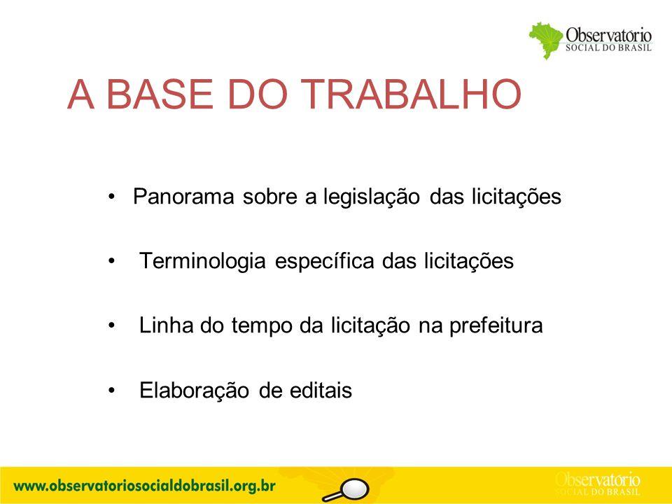 A BASE DO TRABALHO Panorama sobre a legislação das licitações Terminologia específica das licitações Linha do tempo da licitação na prefeitura Elabora