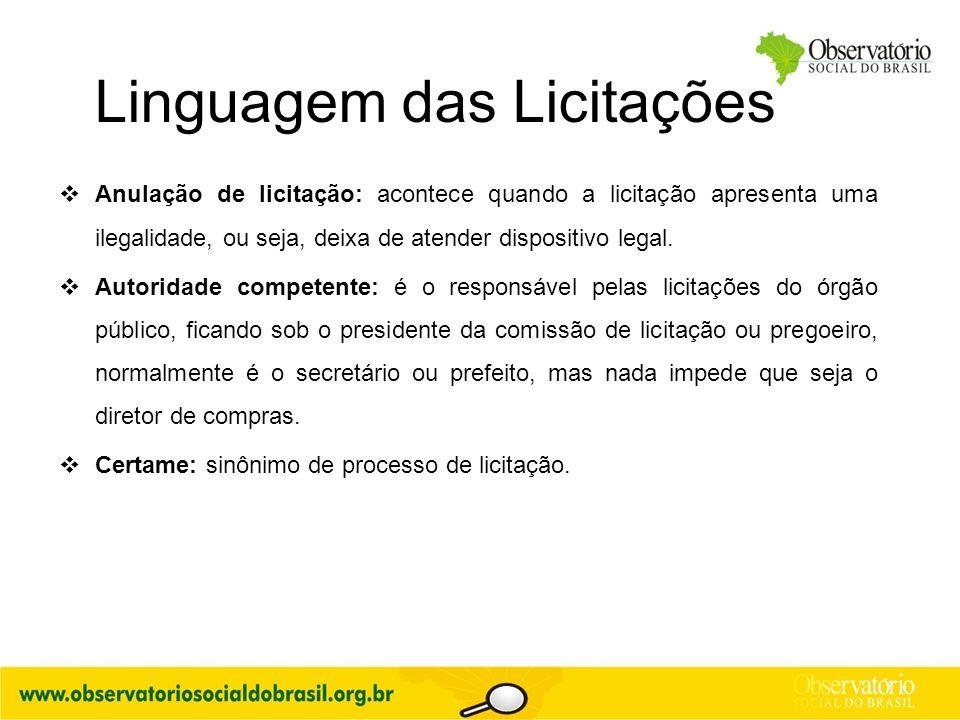 Linguagem das Licitações  Anulação de licitação: acontece quando a licitação apresenta uma ilegalidade, ou seja, deixa de atender dispositivo legal.