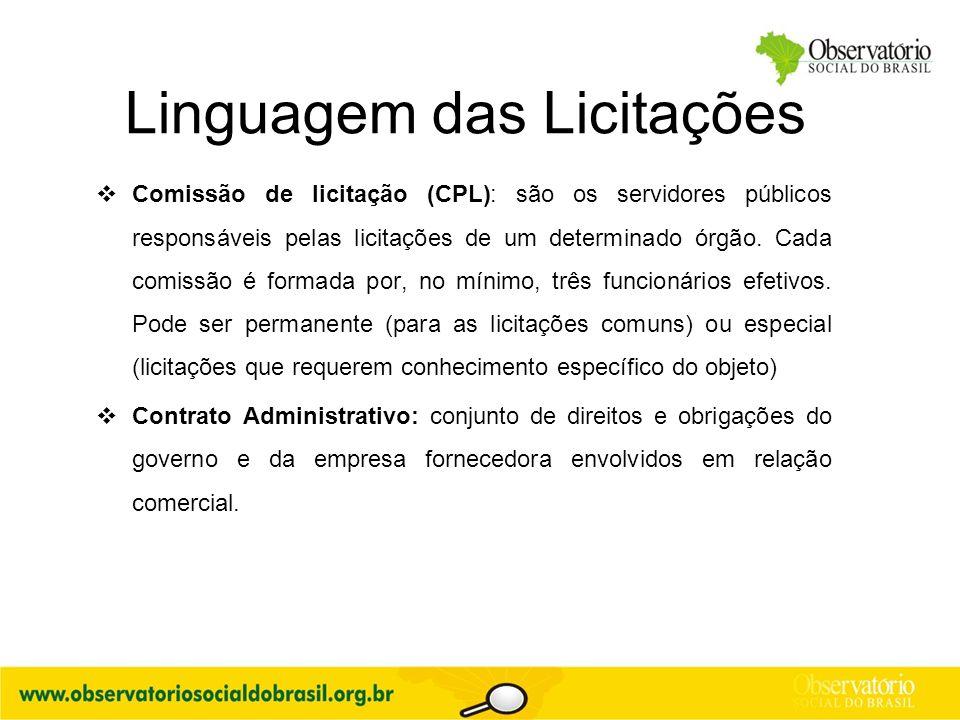 Linguagem das Licitações  Comissão de licitação (CPL): são os servidores públicos responsáveis pelas licitações de um determinado órgão. Cada comissã