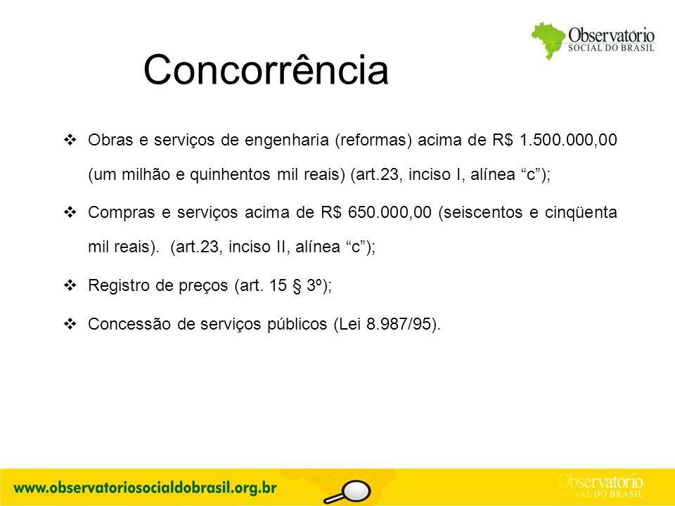 """Concorrência  Obras e serviços de engenharia (reformas) acima de R$ 1.500.000,00 (um milhão e quinhentos mil reais) (art.23, inciso I, alínea """"c""""); """