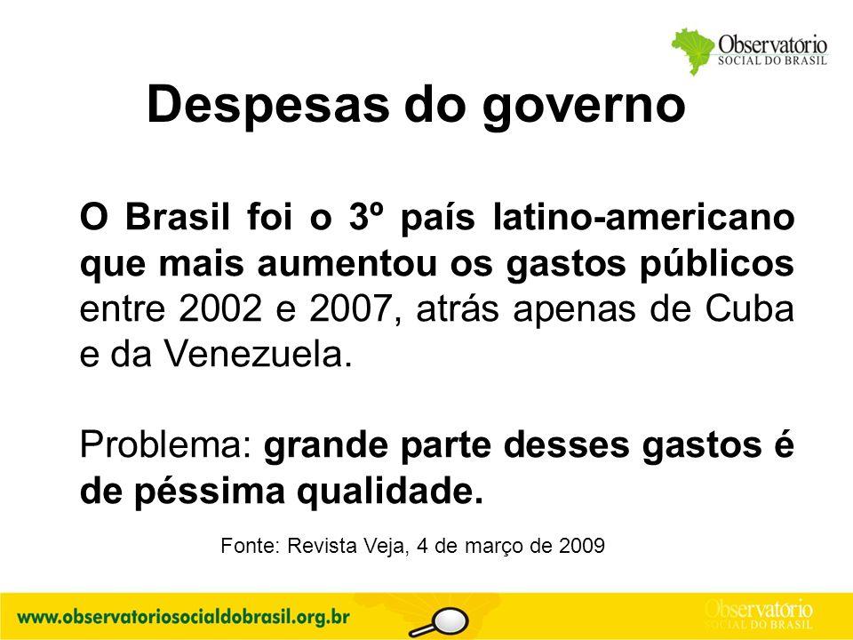 O Brasil foi o 3º país latino-americano que mais aumentou os gastos públicos entre 2002 e 2007, atrás apenas de Cuba e da Venezuela. Problema: grande