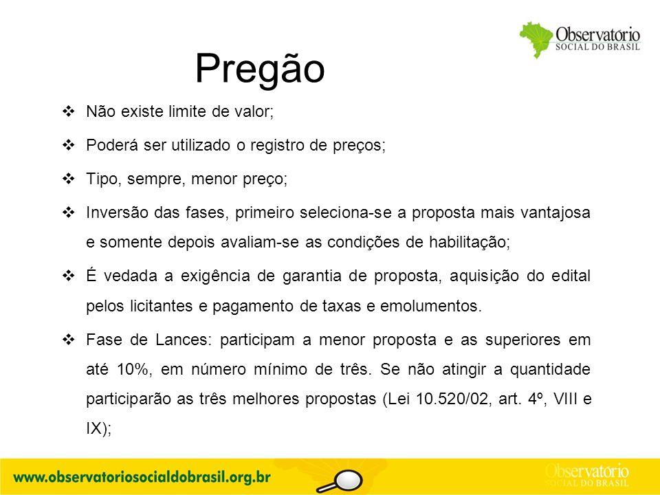 Pregão  Não existe limite de valor;  Poderá ser utilizado o registro de preços;  Tipo, sempre, menor preço;  Inversão das fases, primeiro selecion