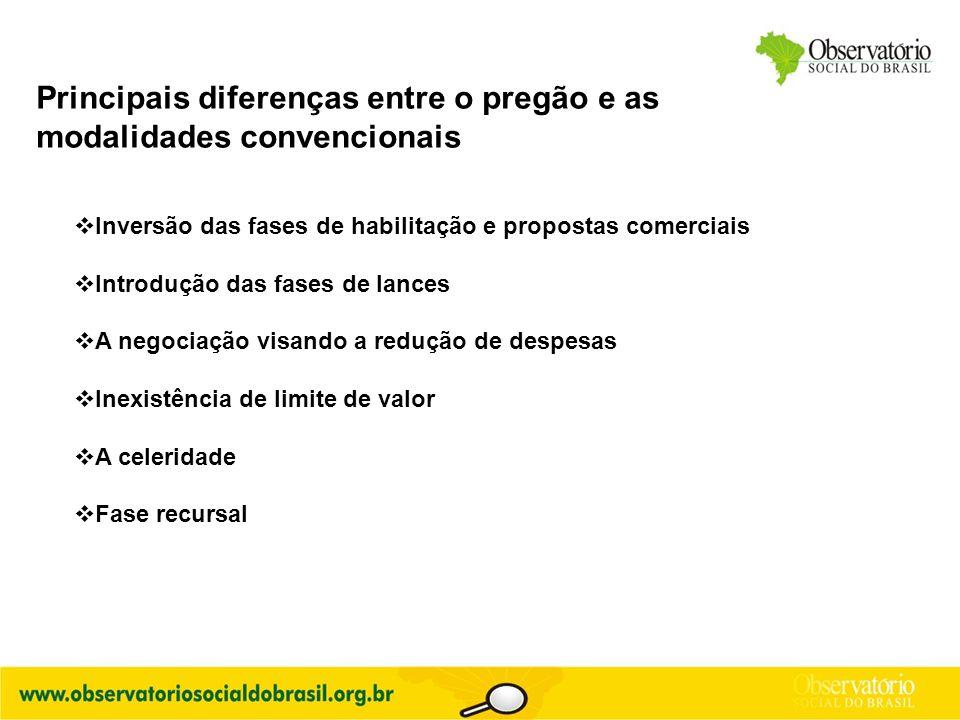 Principais diferenças entre o pregão e as modalidades convencionais  Inversão das fases de habilitação e propostas comerciais  Introdução das fases