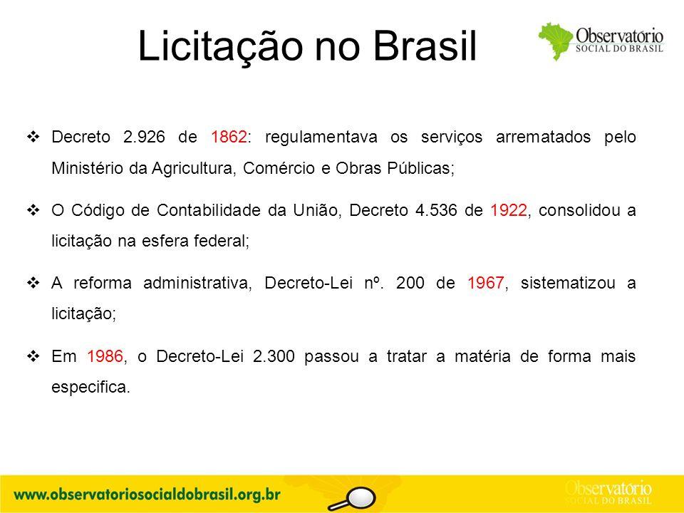 Licitação no Brasil  Decreto 2.926 de 1862: regulamentava os serviços arrematados pelo Ministério da Agricultura, Comércio e Obras Públicas;  O Códi