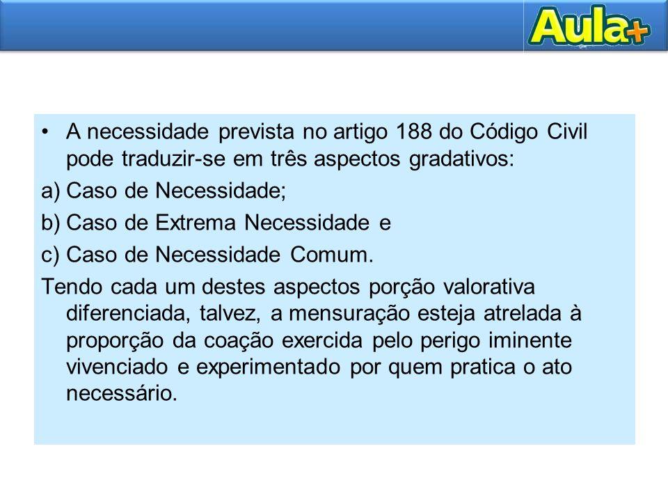 A necessidade prevista no artigo 188 do Código Civil pode traduzir-se em três aspectos gradativos: a)Caso de Necessidade; b)Caso de Extrema Necessidad
