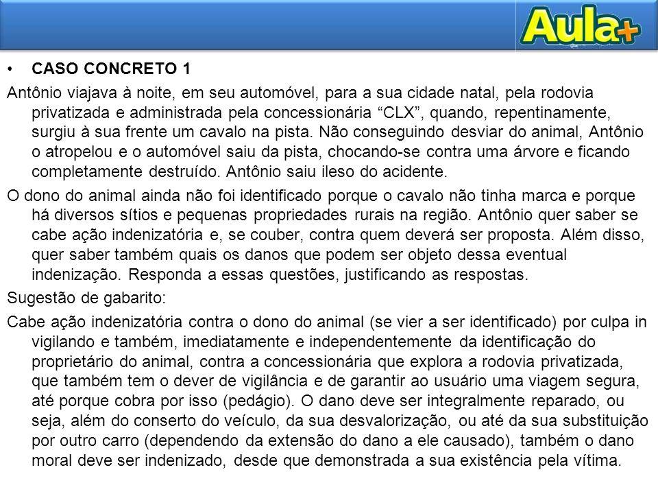 """CASO CONCRETO 1 Antônio viajava à noite, em seu automóvel, para a sua cidade natal, pela rodovia privatizada e administrada pela concessionária """"CLX"""","""
