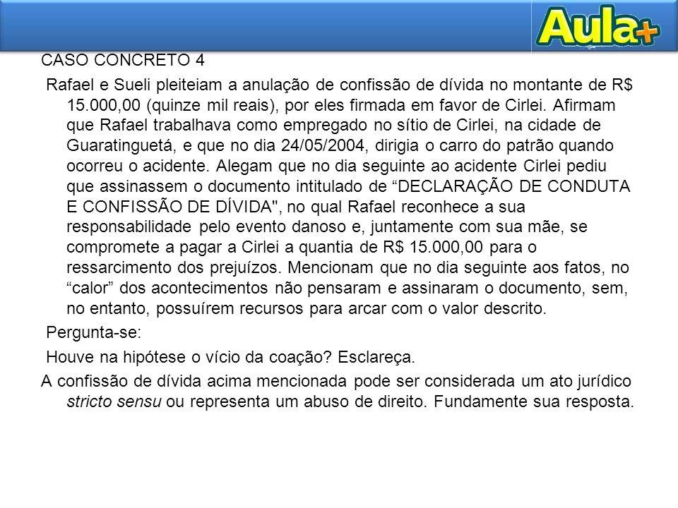CASO CONCRETO 4 Rafael e Sueli pleiteiam a anulação de confissão de dívida no montante de R$ 15.000,00 (quinze mil reais), por eles firmada em favor d