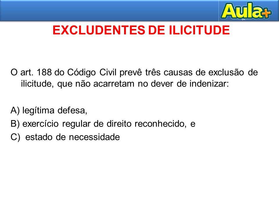 EXCLUDENTES DE ILICITUDE O art. 188 do Código Civil prevê três causas de exclusão de ilicitude, que não acarretam no dever de indenizar: A) legítima d