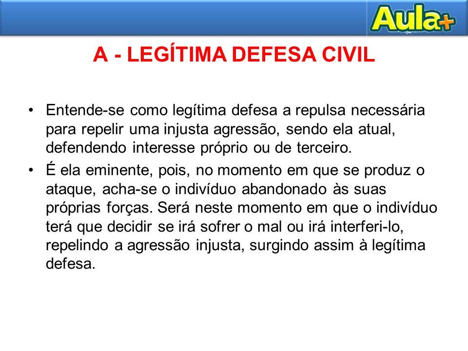 A - LEGÍTIMA DEFESA CIVIL Entende-se como legítima defesa a repulsa necessária para repelir uma injusta agressão, sendo ela atual, defendendo interess