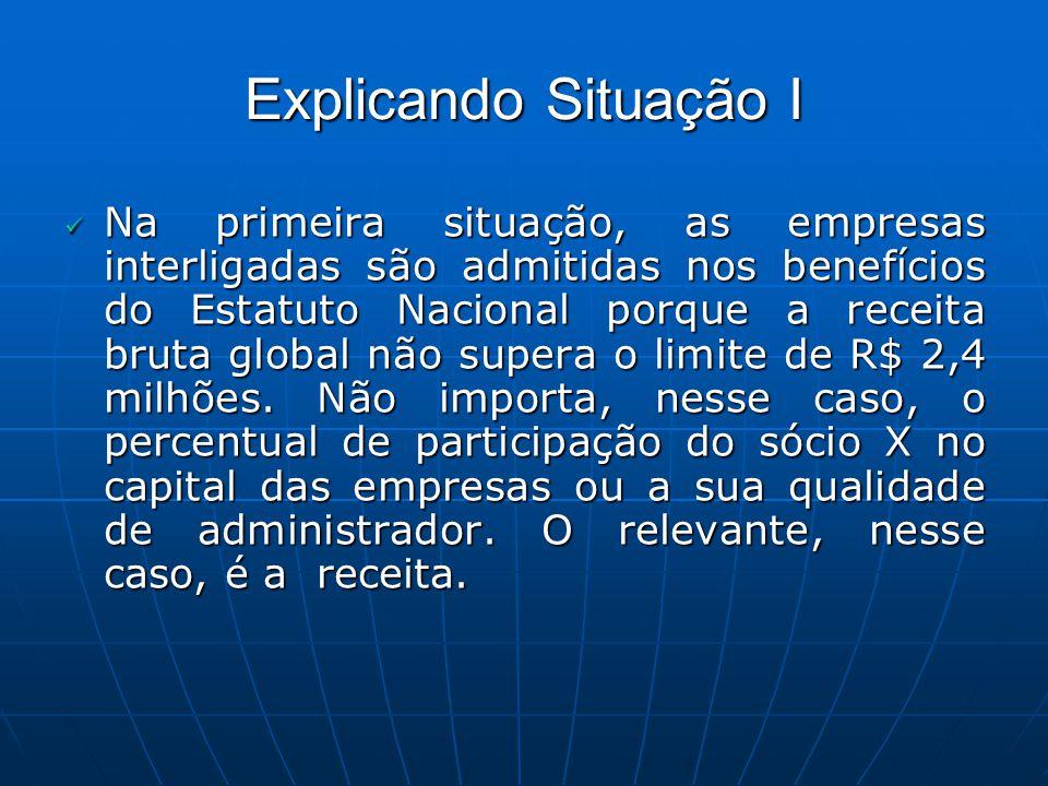 Explicando Situação I Na primeira situação, as empresas interligadas são admitidas nos benefícios do Estatuto Nacional porque a receita bruta global n