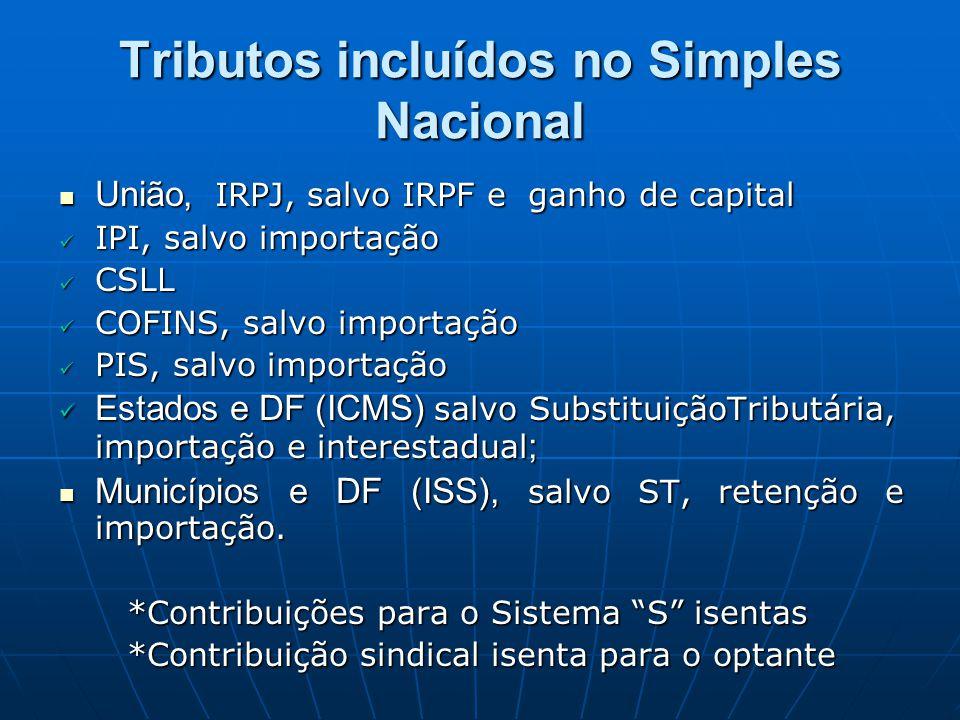União, IRPJ, salvo IRPF e ganho de capital União, IRPJ, salvo IRPF e ganho de capital IPI, salvo importação IPI, salvo importação CSLL CSLL COFINS, sa