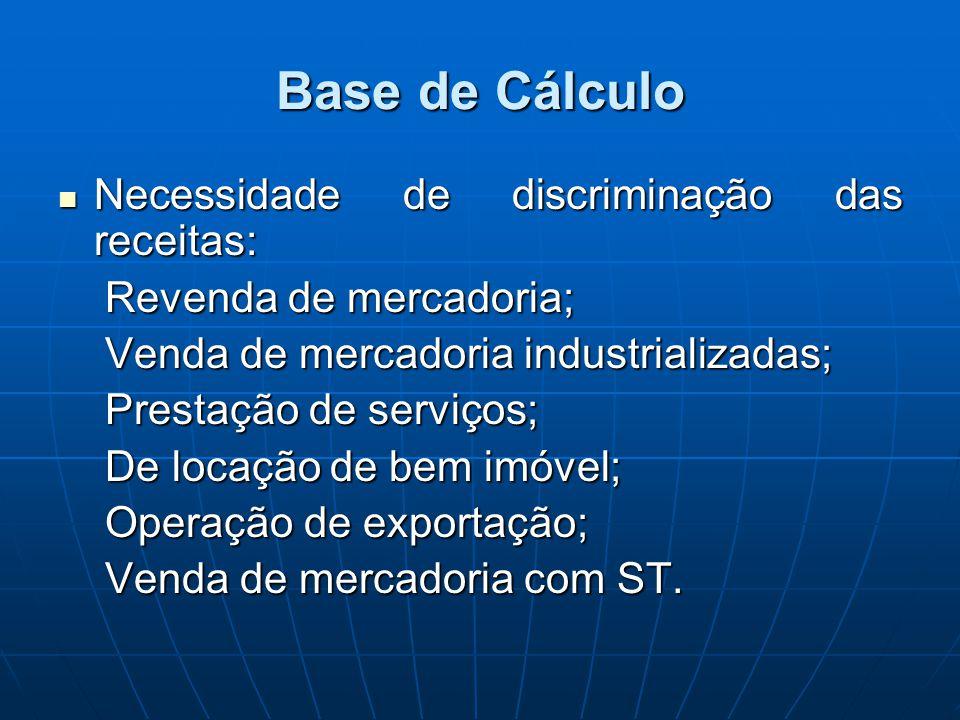 Base de Cálculo Necessidade de discriminação das receitas: Necessidade de discriminação das receitas: Revenda de mercadoria; Revenda de mercadoria; Ve