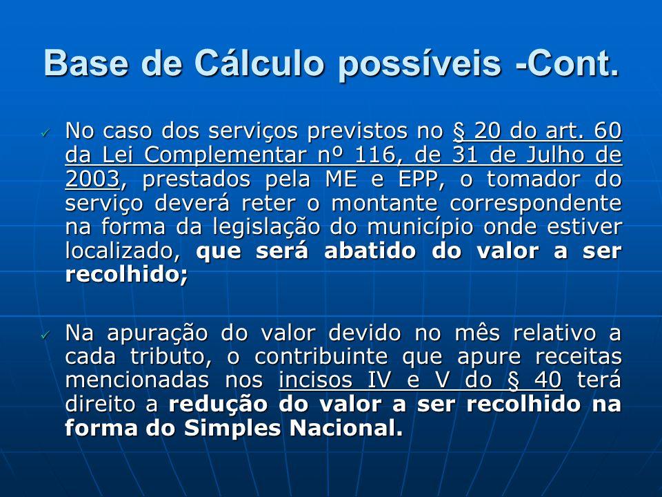Base de Cálculo possíveis -Cont. No caso dos serviços previstos no § 20 do art. 60 da Lei Complementar nº 116, de 31 de Julho de 2003, prestados pela