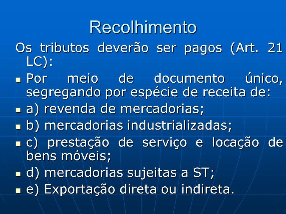 Recolhimento Os tributos deverão ser pagos (Art. 21 LC): Por meio de documento único, segregando por espécie de receita de: Por meio de documento únic