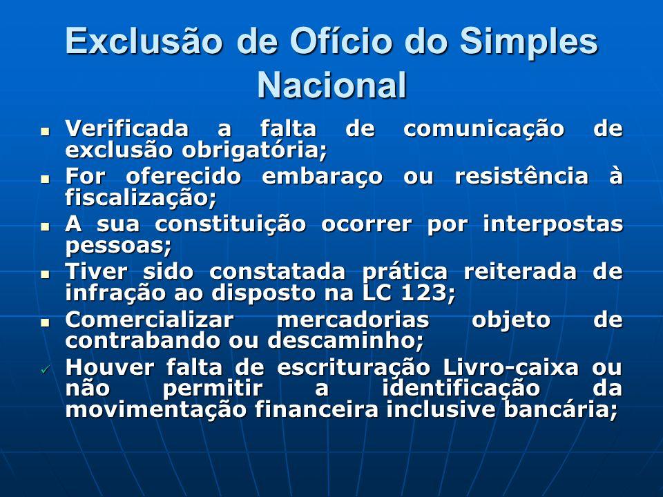 Exclusão de Ofício do Simples Nacional Verificada a falta de comunicação de exclusão obrigatória; Verificada a falta de comunicação de exclusão obriga