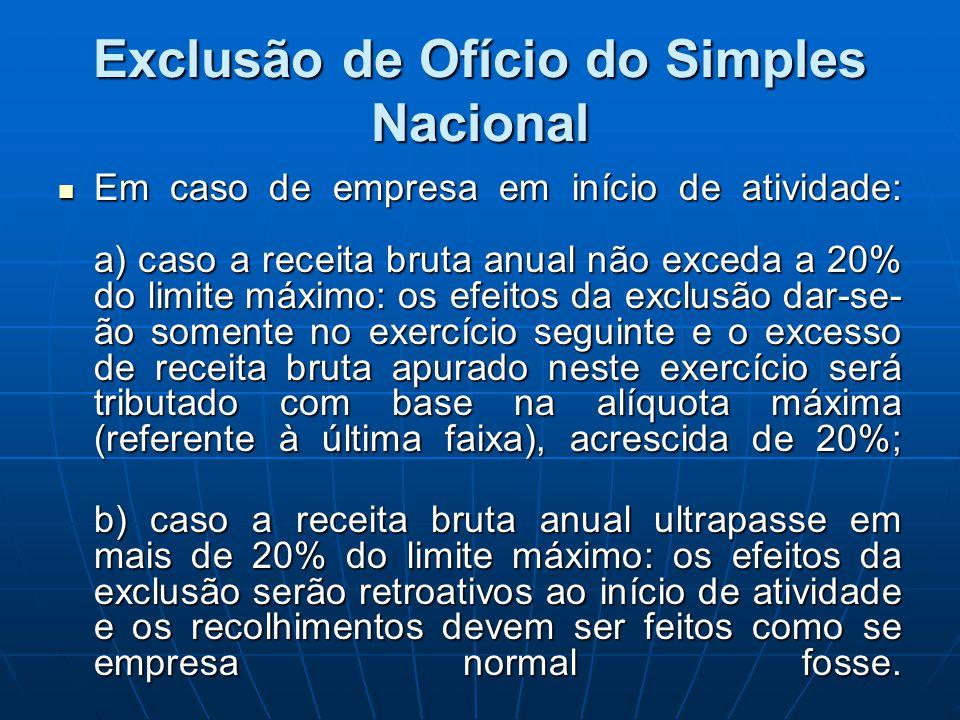 Exclusão de Ofício do Simples Nacional Em caso de empresa em início de atividade: a) caso a receita bruta anual não exceda a 20% do limite máximo: os
