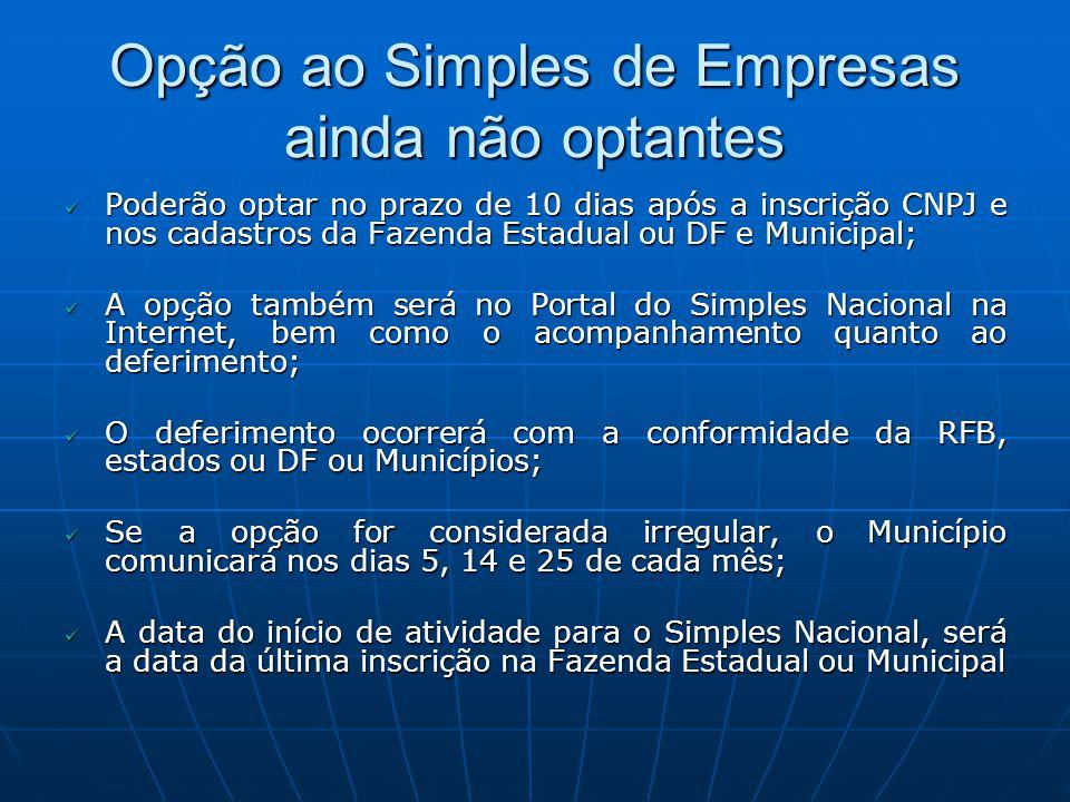 Opção ao Simples de Empresas ainda não optantes Poderão optar no prazo de 10 dias após a inscrição CNPJ e nos cadastros da Fazenda Estadual ou DF e Mu
