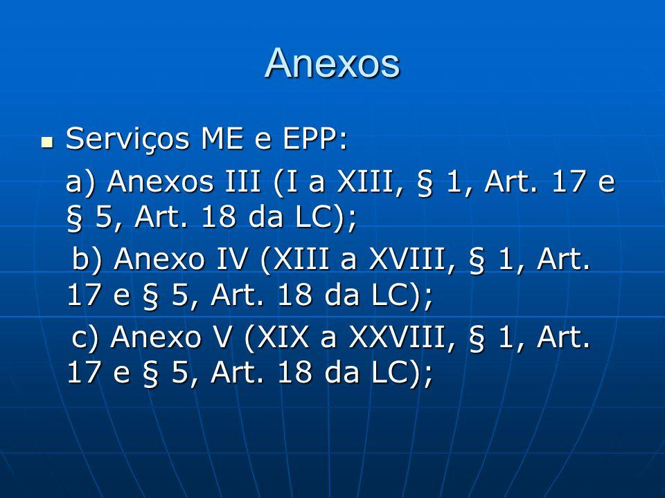 Anexos Serviços ME e EPP: Serviços ME e EPP: a) Anexos III (I a XIII, § 1, Art. 17 e § 5, Art. 18 da LC); b) Anexo IV (XIII a XVIII, § 1, Art. 17 e §