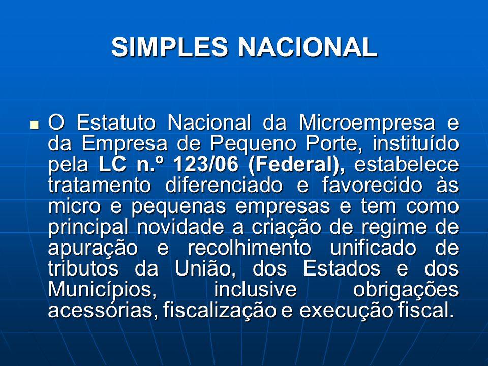 SIMPLES NACIONAL O Estatuto Nacional da Microempresa e da Empresa de Pequeno Porte, instituído pela LC n.º 123/06 (Federal), estabelece tratamento dif