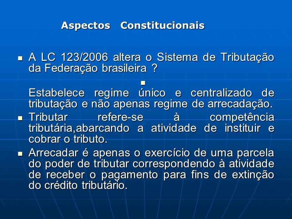A LC 123/2006 altera o Sistema de Tributação da Federação brasileira ? A LC 123/2006 altera o Sistema de Tributação da Federação brasileira ? Estabele