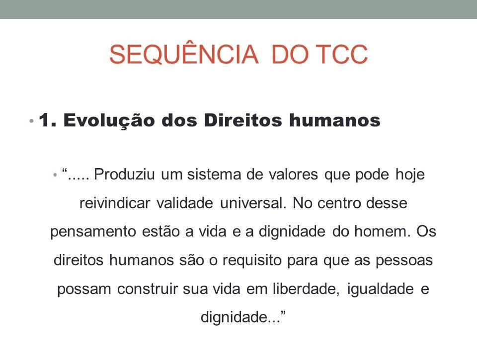 """SEQUÊNCIA DO TCC 1. Evolução dos Direitos humanos """"..... Produziu um sistema de valores que pode hoje reivindicar validade universal. No centro desse"""