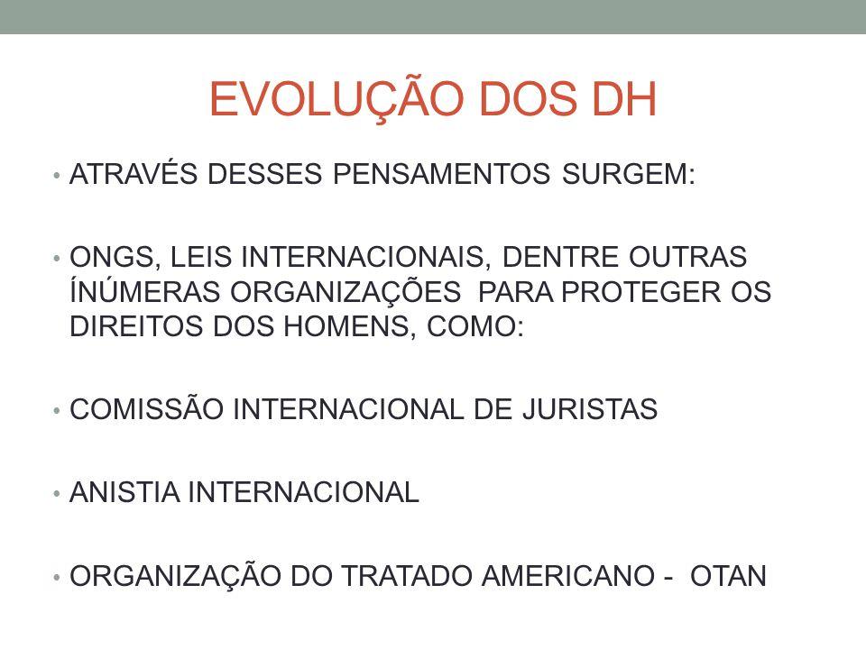 EVOLUÇÃO DOS DH ATRAVÉS DESSES PENSAMENTOS SURGEM: ONGS, LEIS INTERNACIONAIS, DENTRE OUTRAS ÍNÚMERAS ORGANIZAÇÕES PARA PROTEGER OS DIREITOS DOS HOMENS, COMO: COMISSÃO INTERNACIONAL DE JURISTAS ANISTIA INTERNACIONAL ORGANIZAÇÃO DO TRATADO AMERICANO - OTAN