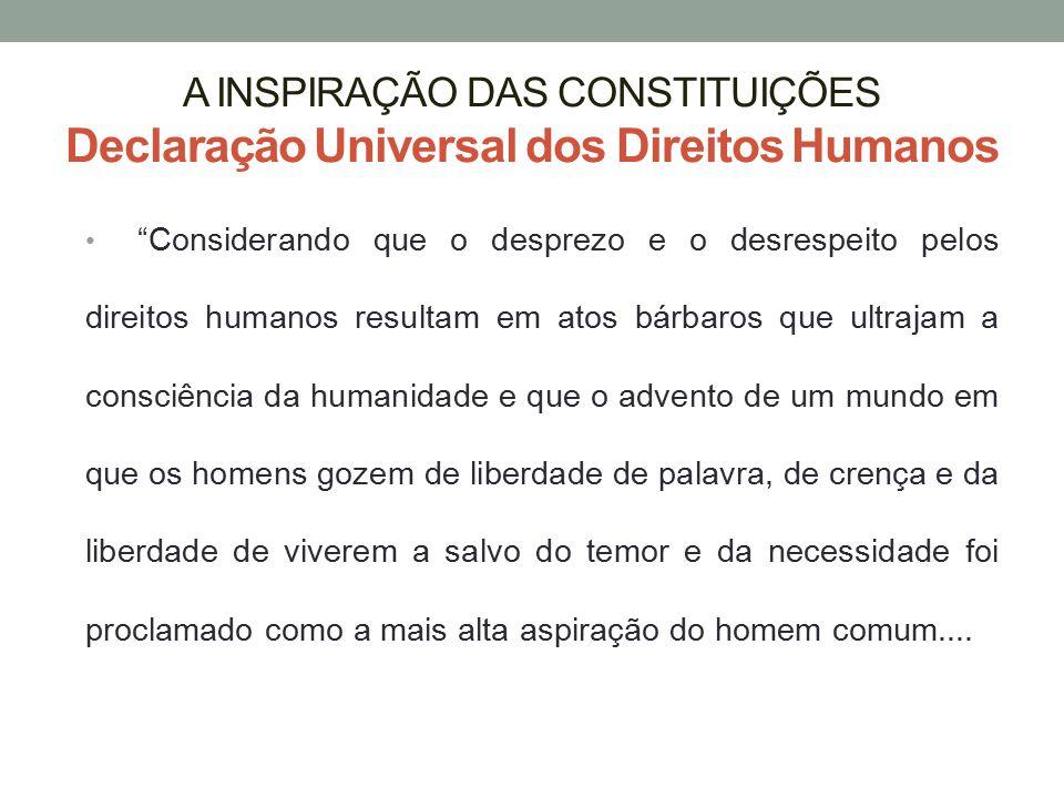 """A INSPIRAÇÃO DAS CONSTITUIÇÕES Declaração Universal dos Direitos Humanos """"Considerando que o desprezo e o desrespeito pelos direitos humanos resultam"""