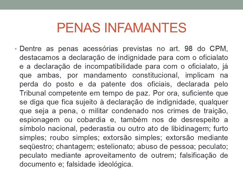 PENAS INFAMANTES Dentre as penas acessórias previstas no art.