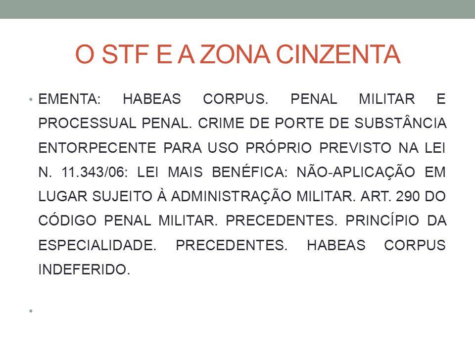 O STF E A ZONA CINZENTA EMENTA: HABEAS CORPUS. PENAL MILITAR E PROCESSUAL PENAL. CRIME DE PORTE DE SUBSTÂNCIA ENTORPECENTE PARA USO PRÓPRIO PREVISTO N