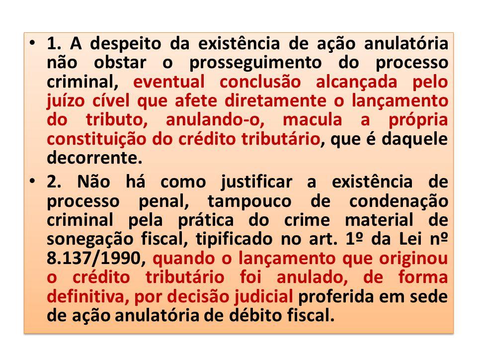 1. A despeito da existência de ação anulatória não obstar o prosseguimento do processo criminal, eventual conclusão alcançada pelo juízo cível que afe