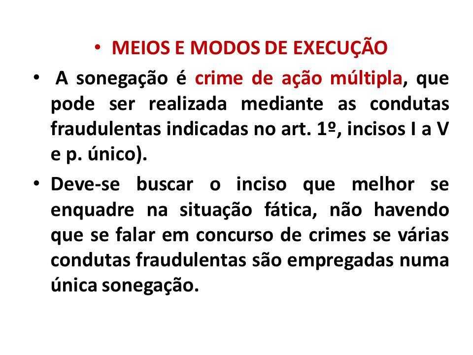 MEIOS E MODOS DE EXECUÇÃO A sonegação é crime de ação múltipla, que pode ser realizada mediante as condutas fraudulentas indicadas no art. 1º, incisos