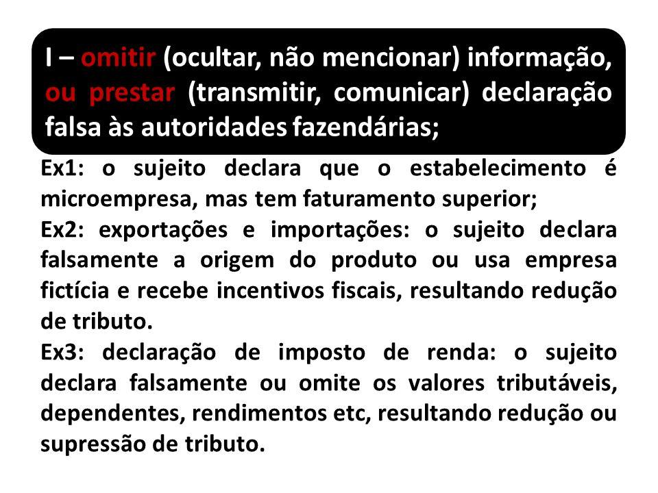 I – omitir (ocultar, não mencionar) informação, ou prestar (transmitir, comunicar) declaração falsa às autoridades fazendárias; Ex1: o sujeito declara