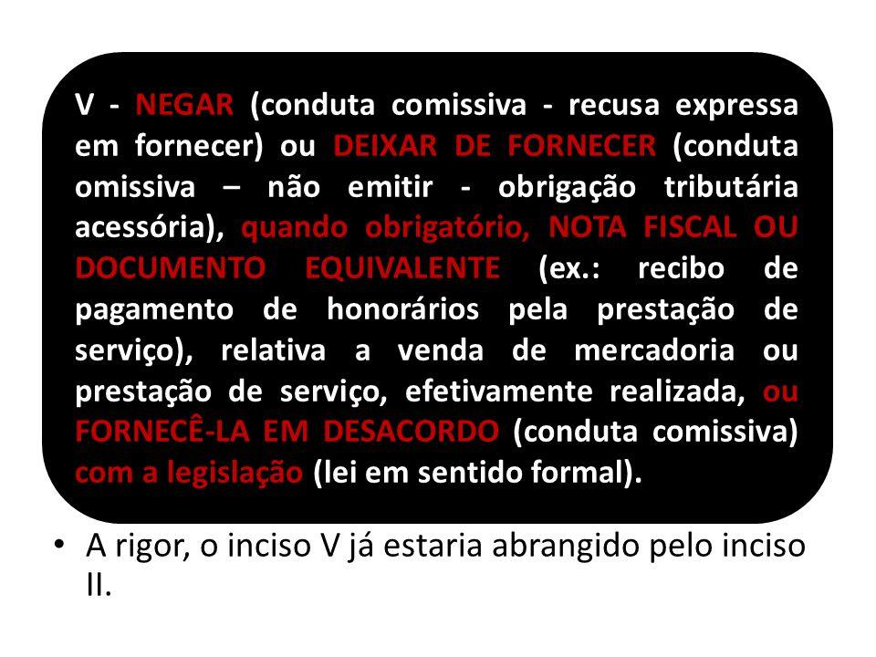 A rigor, o inciso V já estaria abrangido pelo inciso II. V - NEGAR (conduta comissiva - recusa expressa em fornecer) ou DEIXAR DE FORNECER (conduta om
