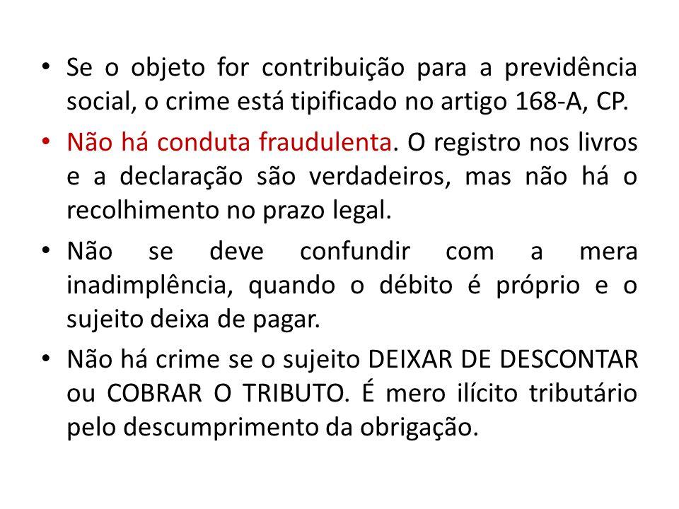 Se o objeto for contribuição para a previdência social, o crime está tipificado no artigo 168-A, CP. Não há conduta fraudulenta. O registro nos livros