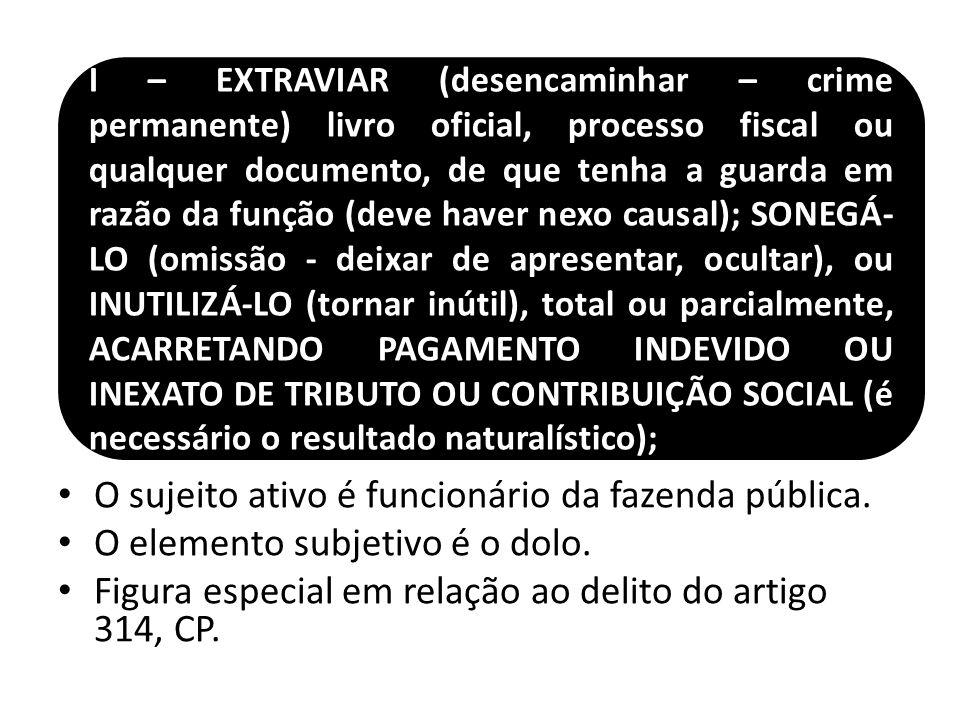 O sujeito ativo é funcionário da fazenda pública. O elemento subjetivo é o dolo. Figura especial em relação ao delito do artigo 314, CP. I – EXTRAVIAR