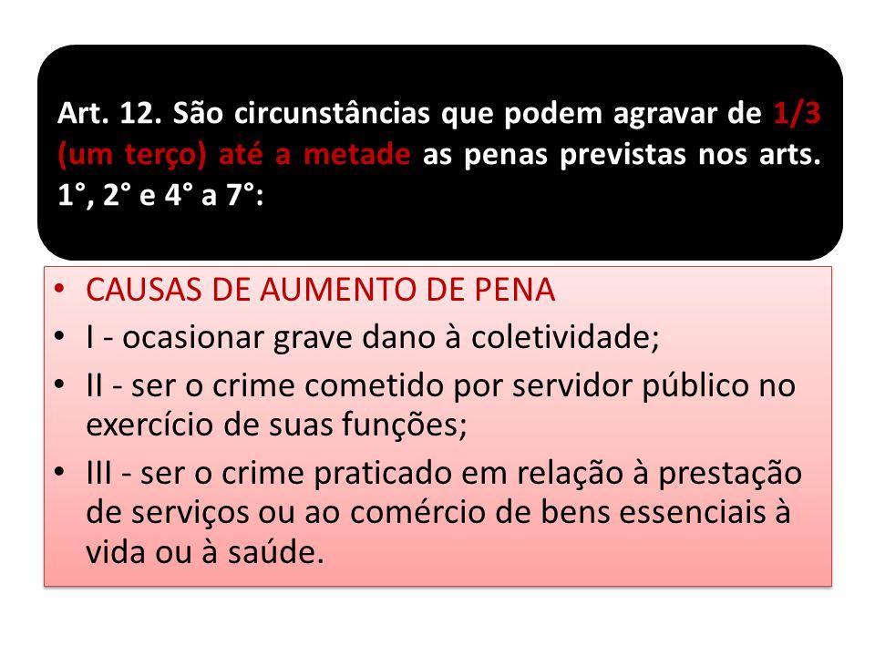 CAUSAS DE AUMENTO DE PENA I - ocasionar grave dano à coletividade; II - ser o crime cometido por servidor público no exercício de suas funções; III -