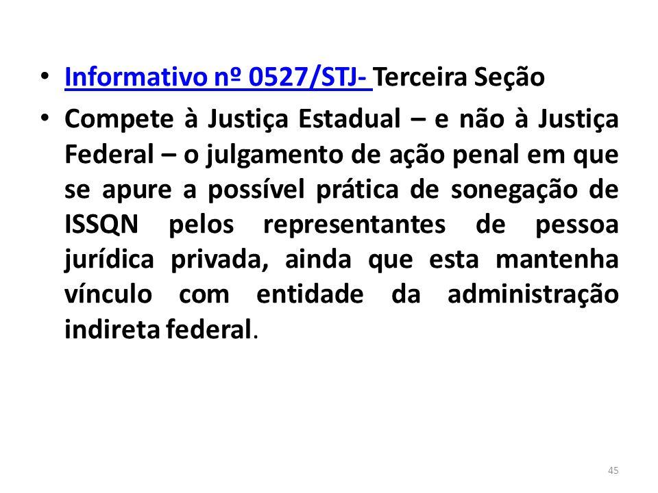 Informativo nº 0527/STJ- Terceira Seção Informativo nº 0527/STJ- Compete à Justiça Estadual – e não à Justiça Federal – o julgamento de ação penal em
