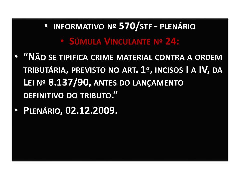 """PLENÁRIO INFORMATIVO Nº 570/ STF - PLENÁRIO S ÚMULA V INCULANTE Nº 24: S ÚMULA V INCULANTE Nº 24: """"N ÃO SE TIPIFICA CRIME MATERIAL CONTRA A ORDEM TRIB"""