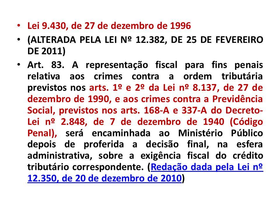 Lei 9.430, de 27 de dezembro de 1996 (ALTERADA PELA LEI Nº 12.382, DE 25 DE FEVEREIRO DE 2011) Art. 83. A representação fiscal para fins penais relati