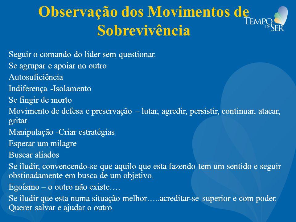 Observação dos Movimentos de Sobrevivência Seguir o comando do líder sem questionar.