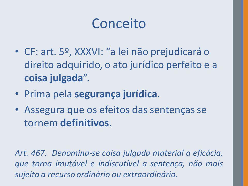 """Conceito CF: art. 5º, XXXVI: """"a lei não prejudicará o direito adquirido, o ato jurídico perfeito e a coisa julgada"""". Prima pela segurança jurídica. As"""