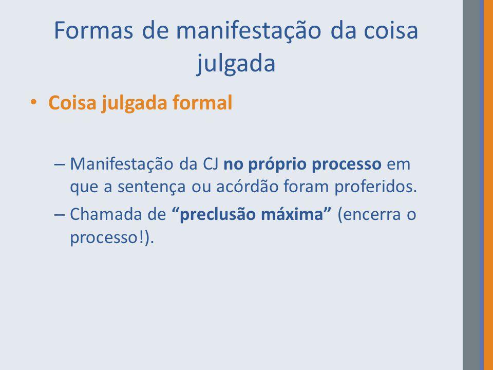 Formas de manifestação da coisa julgada Coisa julgada material – É a projeção externa dos efeitos da sentença, que impede que a mesma ação seja discutida em outro processo.