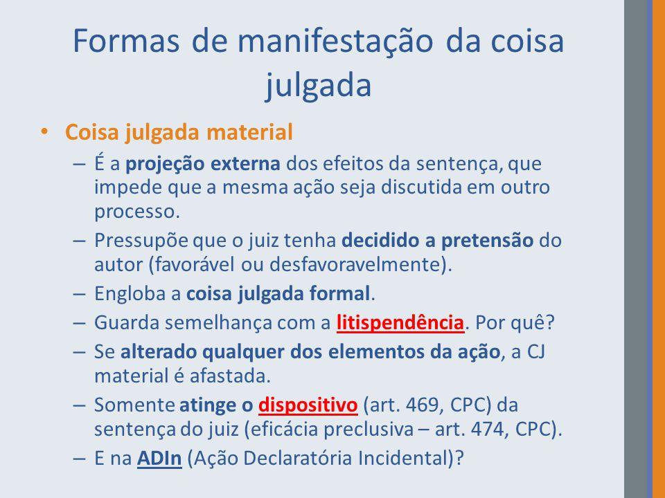 Formas de manifestação da coisa julgada Coisa julgada material – É a projeção externa dos efeitos da sentença, que impede que a mesma ação seja discut